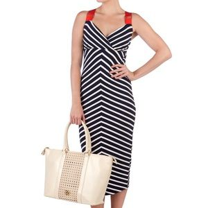 TED BAKER Navy and White Stripe Maxi Dress- XS